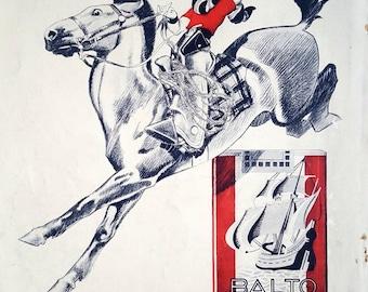 Cigarettes BALTO, original art deco advertising, 1932 illustration print, cigars poster, horse ad, equestrian vintage poster for framing