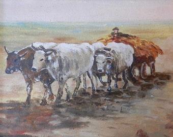 Ox Wagon - Oil painting - Romanian Art