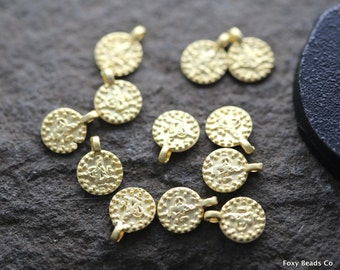 Tiny Ottoman Gold Coin // 24K Gold Plated Coin Pendant, 10 x 7 mm, 15 Pieces   - CCG011