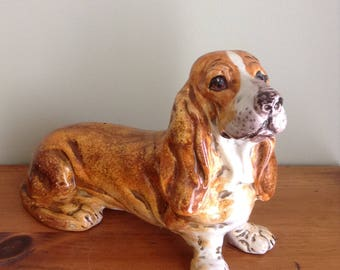 Dog Figurine, Basset Hound, Big Dog Figurine,Clay Dog Figurine,Hound, Dog Statue, Dog Figurine,Hound Dog, Animal Lover, Dog Figurine
