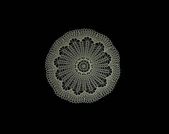 Vintage handmade crocheted doily centerpiece -- light olive green doily with flower center and large netting -- 14.5 inches / 37 cm