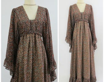 Vintage 60s 70s Black Label GUNNE SAX Joseph Magnin Big Flutter Sleeve Maxi Dress Jessica McClintock