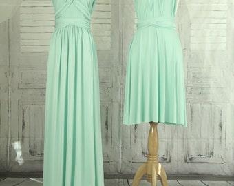 Light Mint  dress,Bridesmaid Dress , Infinity Dress, Wrap Convertible Dress.Party dress-C33#B33#