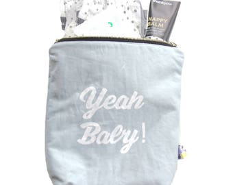Nappy Clutch / Pouch / Water resistant / Unisex / Mama Bag / Dusty Blue and White / Zip Bag