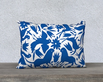 Otomi Pillow Cover - Cobalt Blue Throw Pillow - 18x18 or 20x14 Accent Pillow - Decorative Pillow - Modern Decor - Aldari Home