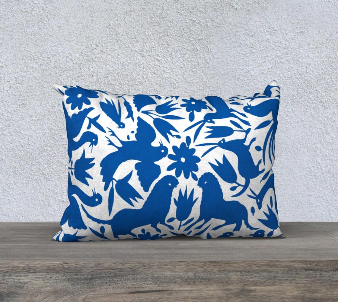 Cobalt Blue Throw Pillow Covers : Otomi Pillow Cover Cobalt Blue Throw Pillow 18x18 or 20x14