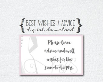 Pink Grey/Gray Bride Bridal Shower - Advice & Best Wishes