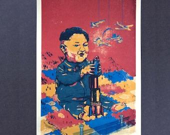 Kim Jong-un Screen-Print Propaganda Poster Print