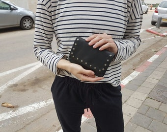 Black Leather Wallet - Black Essential Wallet - with studs