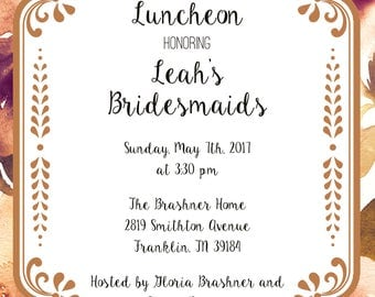 Gold and Plum Bridesmaids' Luncheon Invitation
