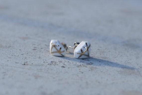 Mini diamond shape stud earrings Porcelain and 18k Gold Lustre Earrings