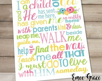 LDS Baptism Gift - I Am A Child of God Printable - 8x10 JPEG File - LDS Subway Art - Primary Song Printable