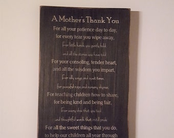 A Mother's Thank You to Daycare Provider, Thank You, Kids, Gift for Her, Gift for Him, Primitive Sign, Wood Sign, Daycare Sign, Childcare