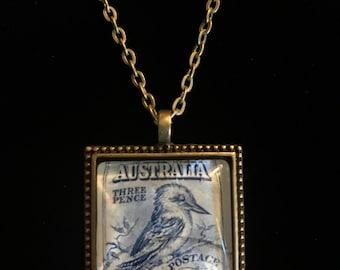 Kookaburra Postage Stamp Necklace