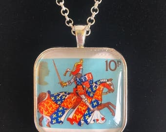 Medieval Knight Postage Stamp Necklace