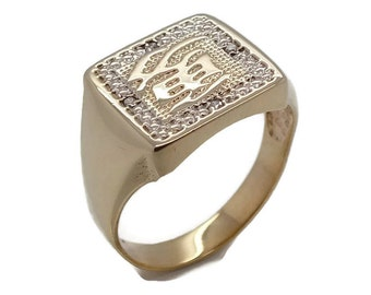 Gold Chinese Inscription Ring, Mens Gold Rings, Mens Diamond Ring, Mens Signet Ring, Mens Gold Signet Ring, Gold Ring Men, Father's Day Gift