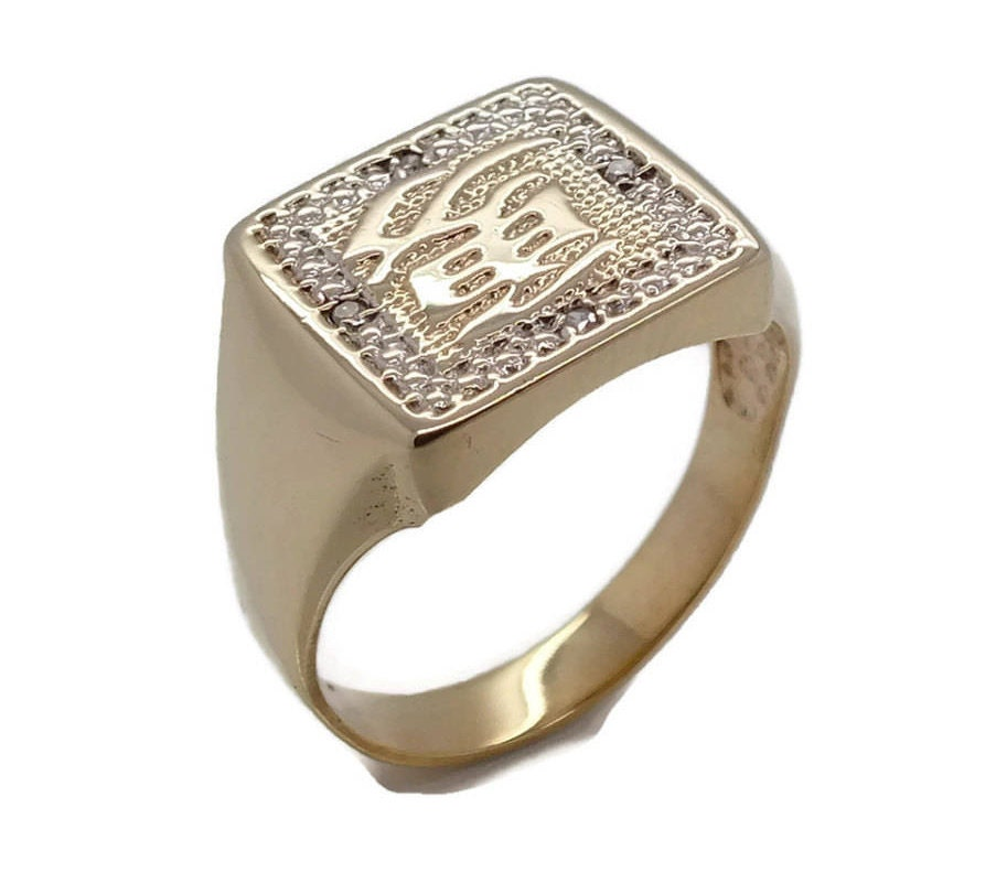 gold chinese inscription ring mens gold rings mens diamond ring mens signet ring - Wedding Ring Man