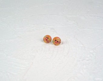 Wooden button colorful heart Stud Earrings