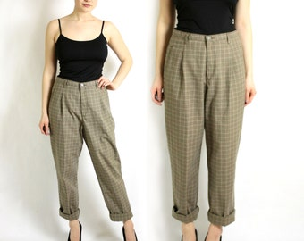 Vintage 90's 80's Lee Beige Check Plaid High Waisted Pleated Boyfriend Pants Trousers