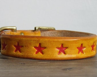 Distressed Yellow Leather Dog Collar with Red Stars - Small - Brass Hardware