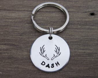 Hand Stamped Aluminum Pet ID Tag with Large Antlers - Dog Tag - Cat Tag - Bridle Tag
