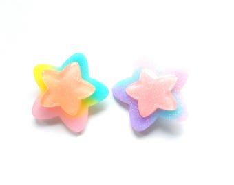 Magical Pastel Double Star Hair Clips, Pastel Rainbow Star Brooch Pins, Mahou Kei, Fairy Kei, Magical Girl, Kawaii Rainbow Star, Pastel Kei