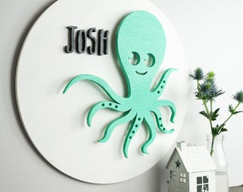Personalised 3D Wooden Sign, Octopus, Wood Cutout, Handmade Nursery Decor, Wall Art, Children's Room, Wall Decor, 3 Dimensional Wooden Sign