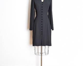 vintage 90s dress, peter pan collar, dolly dress, keyhole neckline, 1990s 90s clothing, black dress, midi dress, wednesday addams, M L