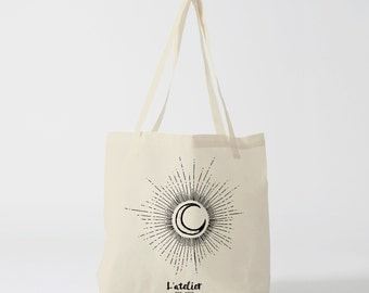 X272Y tote bag moon, canvas bag, cotton bag, shopping bag, custom tote bag, personalized tote bag, tote gift,  tote bag personalized