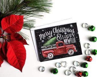 Christmas Card Set, Chalk Art, Chalkboard Art, Happy New Year, Vintage Truck, Merry Christmas Card Set, Vintage Christmas Cards