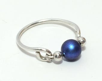 Iridescent Dark Blue Swarovski Ring ~ Wire Wrapped Ring ~ Wire Wrap Ring ~ Sterling Silver Ring ~ Blue Pearl Ring ~ Swarovski Pearl Ring
