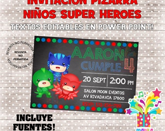 INVITATION SMALL SUPERHEROES slate editable file - instant download