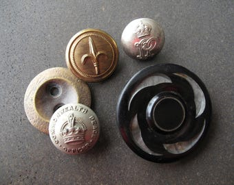 Vintage Metal and Bakelite Button Lot - Recycled - MB-51BrsVS-05