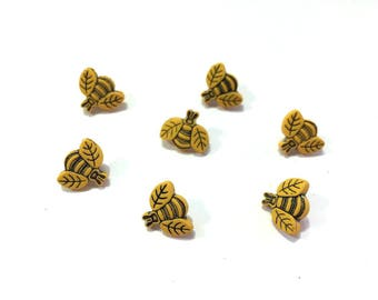 Mini Bee Buttons Jesse James Buttons Tiny Bees Dress It Up Buttons Set of 7 Shank Back Color Choice Gold Yellow - 702 A