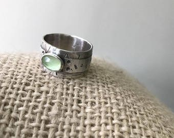 Rustic Wide Ring , Wide band oxidized ring , Lemon jade stone ring , Unisex silver ring , Rustic Textured Band