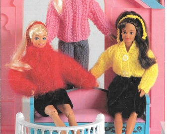 Nice vintage knitting pattern for fashion dolls using mainly Double Knit wool