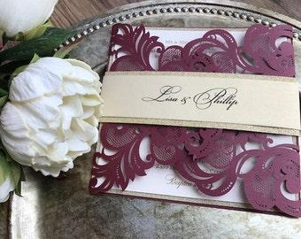 Burgundy Laser cut wedding invitation, Burgundy and gold invitation, Glitter invitation, laser cut invitation, Burgundy & Gold, Gold Glitter
