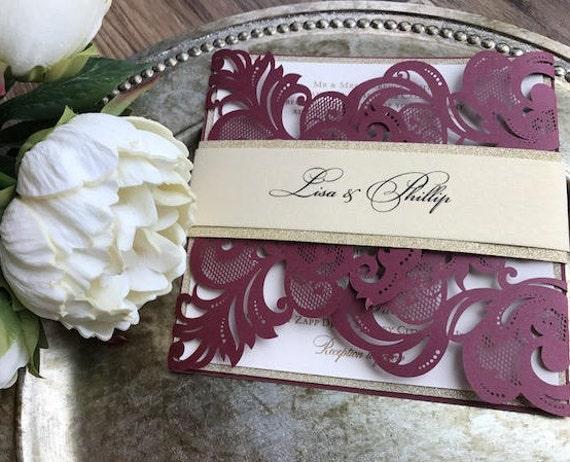 Burgundy And Gold Wedding Invitations: Burgundy Laser Cut Wedding Invitation Burgundy And Gold