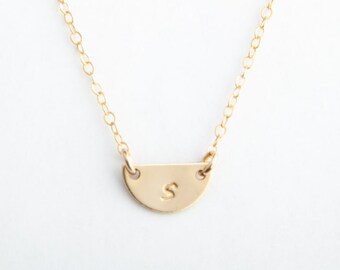 """Half Circle Initial Necklace, 3/8"""" (9.5mm), Gold Fill, Rose Gold Fill or Sterling Silver"""