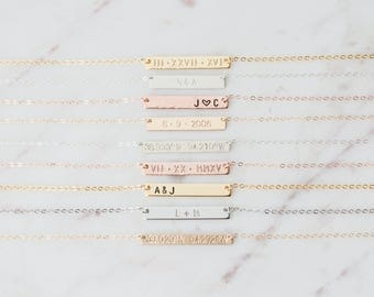 Personalized Bar Necklace, Bridesmaid Gift, Gold Bar Initial Necklace, Rose Gold Bar, Silver Bar, Custom Jewelry, Name Plate Hand Stamped