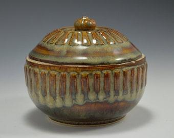 Garlic Keeper, Small Lidded Jar, garlic jar, an art piece for your kitchen 4 wide x 3.5 tall