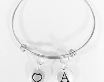 Gift For Her, Heart Drop Bangle, Initial Bangle Bracelet, Wife Mom Love Daughter Mother's Day Gift Bangle Charm Bracelet