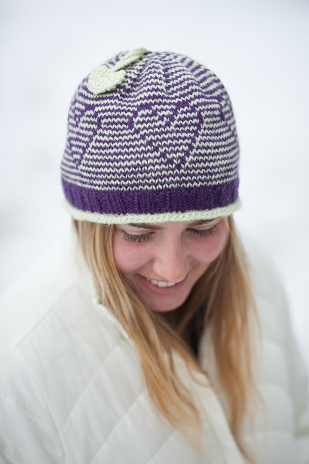Knitting Pattern Hat With Hearts : Hat Knitting Pattern PDF Knitted Hat Pattern Heart Hat