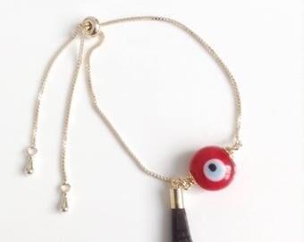 Evil eye Jewelry, Gold Evil eye Bracelet, Lucky charm, Genuine Azabache Bracelet, Gold Evil Eye Charm, Birthday gift, Amulet, mal de ojo