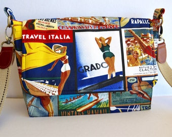 Retro cross body bag, colourful cross body, scenic bag, water sports bag, small satchel, small messenger, fabric sling bag