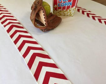 Baseball Red and White Chevron Table Runner Set Of 2 Strips - Baseball Party Themed - SELECT A SIZE