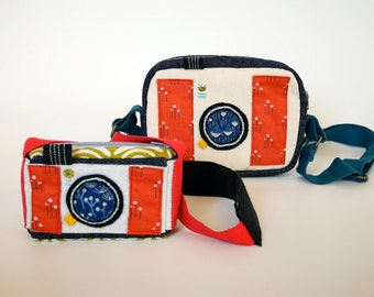 Mummy and me bags, Cross body bag and matching pouch, retro camera bags, as seen on Haute Handmags magazine, cute gift set