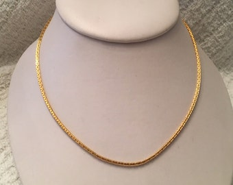Gold Tone Chain Necklace, Gold Tone Chain Choker, Gold Choker, 15 inch Choker, Gold Chain, Korea