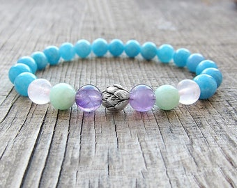 Girlfriend gifts for her gift Silver Lotus bracelet Fertility bracelet Pregnancy bracelet Aquamarine bracelet Yoga bracelet  bracelet