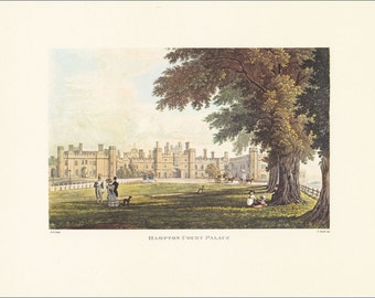 Victorian London Hampton Court Palace vintage print coloured engraving 7 x 9.25 inches